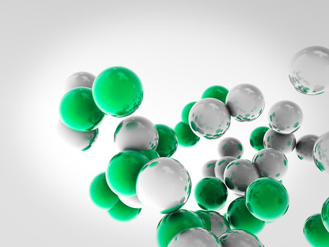 Flying balls, atoms, created in Cinema 4D. Background