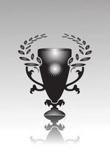 Ein Siegerpokal mit Lorbeer Kranz