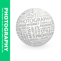PHOTOGRAPHY. Globe with association terms.