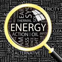 ENERGY. Magnifying glass over different association terms.