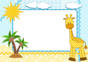 Children's photo framework. Giraffe.