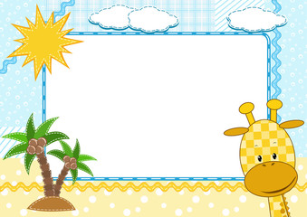 Children`s photo framework. Giraffe.