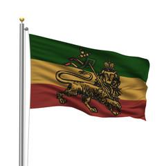 Rastafarian flag on pole over white background