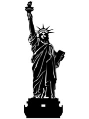 Statue of Liberty Black and White Illustration