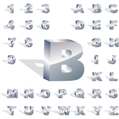 ABC and number set. Silver set.