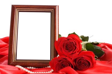 Red rose with a framework for a photo