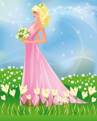 Keuken foto achterwand Kasteel Spring card with girl and snowdrop, vector illustration