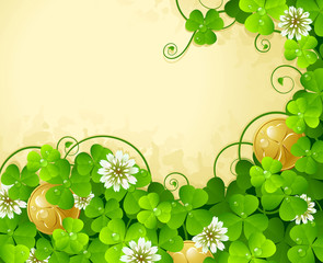 St. Patrick's Day frame with clover and golden coin 4