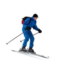 Skier man in mountains