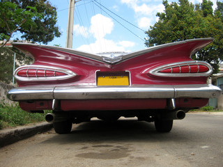 Garden Poster Cars from Cuba red nice car