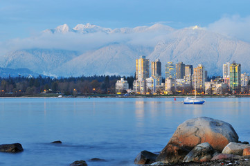 vancouver cityscape with grouse mountain background Wall mural