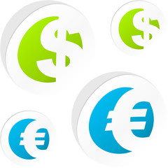 Vector dollar and euro sticker set.