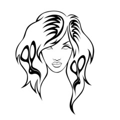 illustration of  girl  with hairdressing accessories