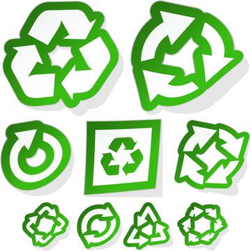 Recycle symbol. Sticker set.