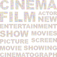 CINEMA. Vector illustration with association terms.