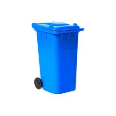 blue empty recycling bin