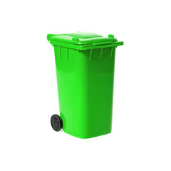 green empty recycling bin