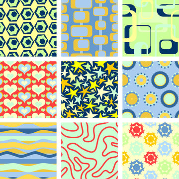 Set of 9 seamless backgrounds
