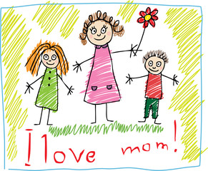 KIds Drawing. The Mother's Day