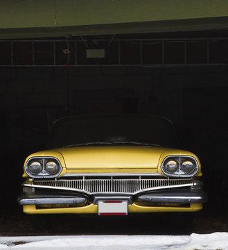 Vintage car in garage for winter
