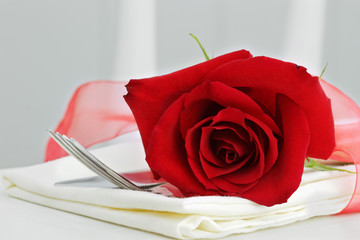 Red Rose and Silverware