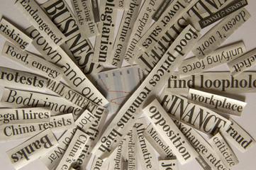 In de dag Kranten Close Up of News Paper Handlines