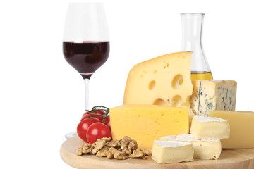 Cheese, tomatoes, red wine and walnuts