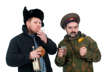 Russian soldier drinking vodka