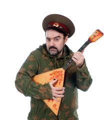 Russian soldier with balalaika