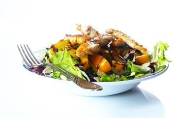Blattsalat mit Balsamico-Dressing und Hähnchenbruststreifen / Gr