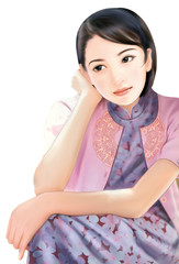 Hand drawing- chinese woman 006