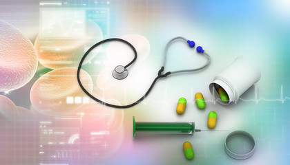 Medical equipments  In  abstract background.