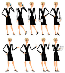 Attractive business woman in black illustrations set 2.