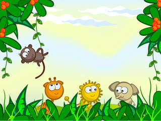 Poster Forest animals Comical jungle background