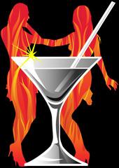 Martini glass and girls