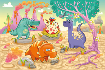 Photo sur cadre textile Dinosaurs Dinosaurs in a prehistoric landscape. Vector illustration