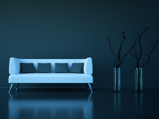 3d Sofa Rendering dunkelgrau weiss