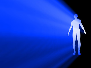 Silhouette of man radiating light