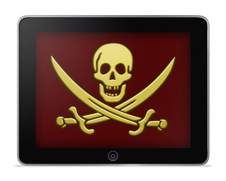 Tablet Computer With Pirate's Symbol