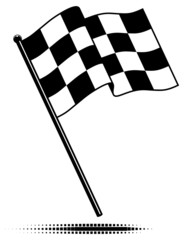 Vector checkered flag waving above the pole. No Gradients.