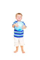 Cute little boy with blue ball