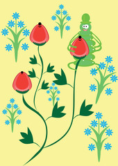 Abstract vector berries and caterpillar