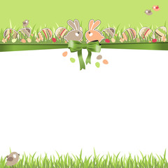 Easter greeting card with eggs, rabbits and grass