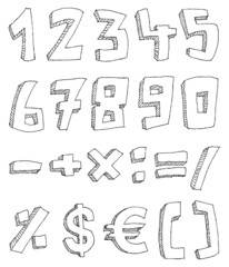 Hand drawn numbers and math signs
