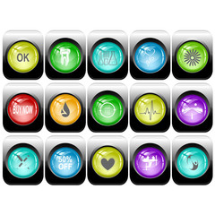 Vector set of internet buttons