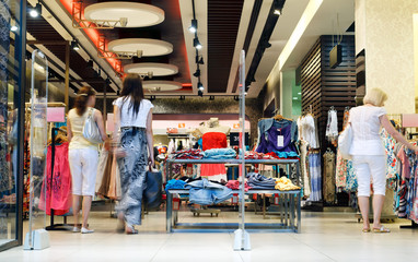 Shoppers at shopping center