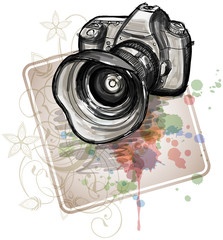 Color sketch of a digital photo camera  & floral calligraphy orn