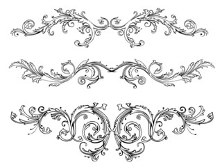 Ranken, Blätter, Laub, Ornamente, vector, filigran, flora