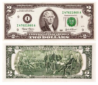 Two USA dollars
