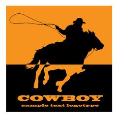 Logo cowboy on orange background # Vector